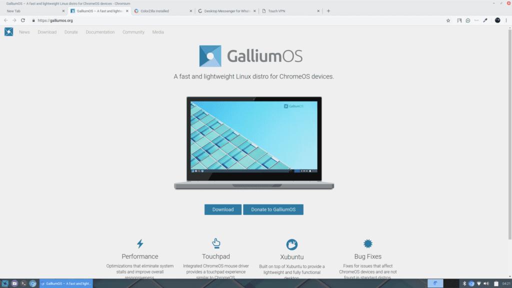 Gallium OS homepage
