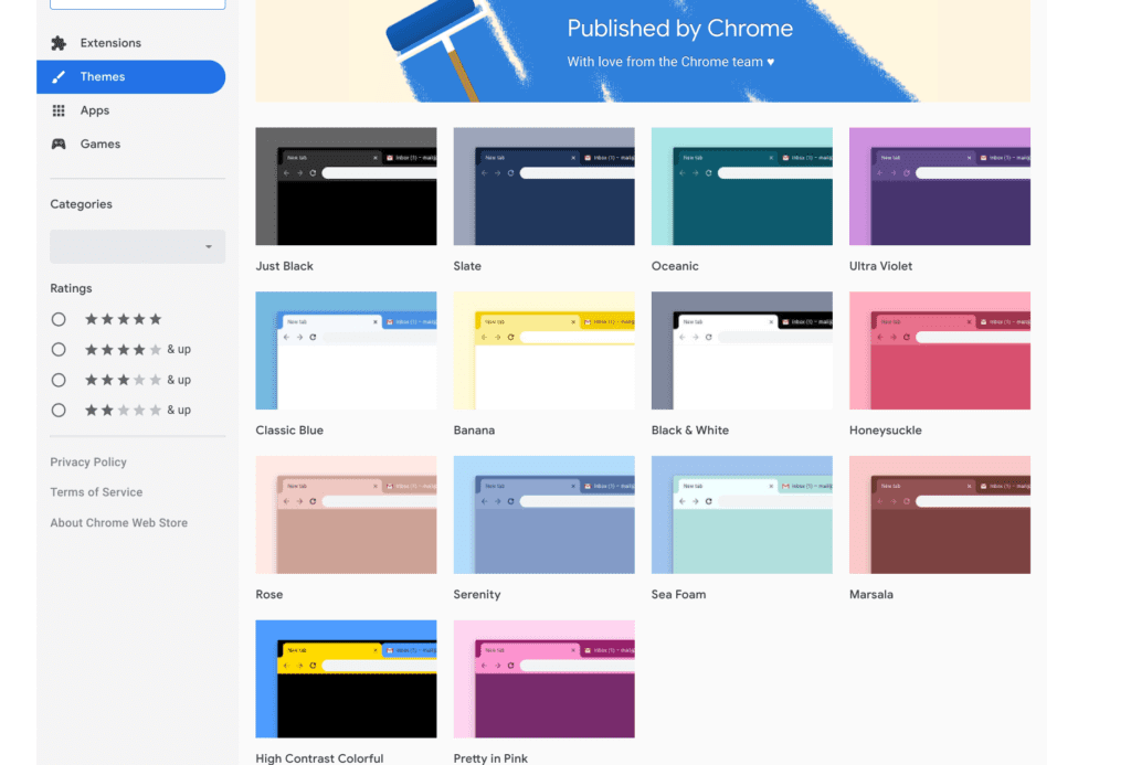 chrome theme selection